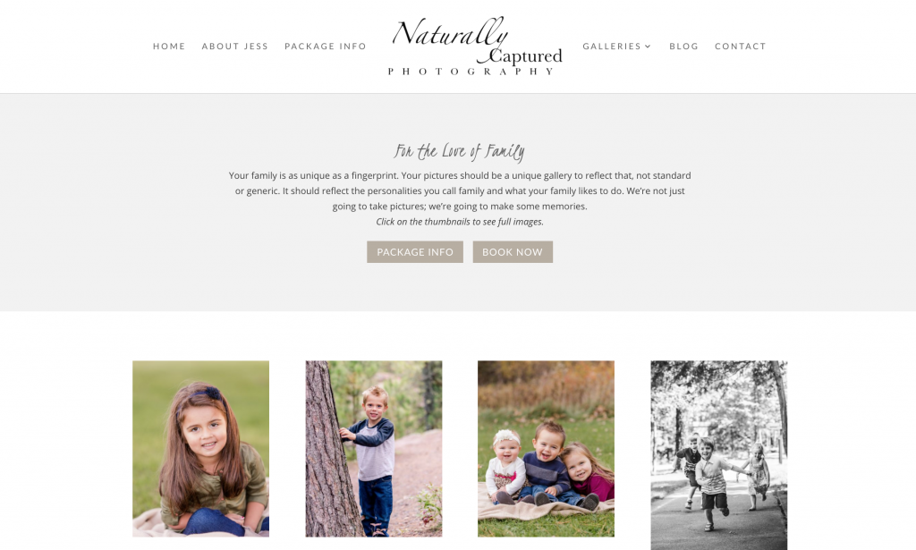 Naturally Captured Photography Website Redesign - Verity & Co.