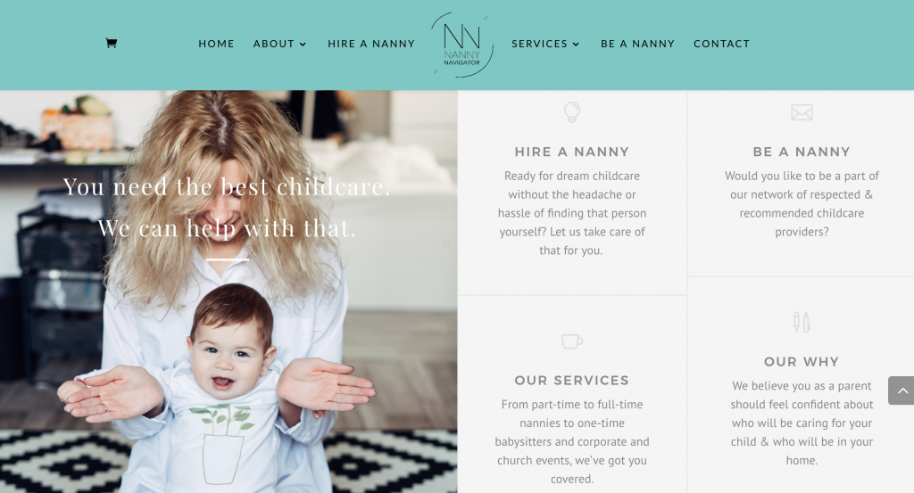 Rebrand, web design, copywriting - Nanny Navigator - Verity & Co.